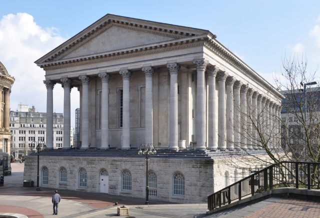 Birmingham Town Hall from Chamberlain Square - cut from Anglesey stone