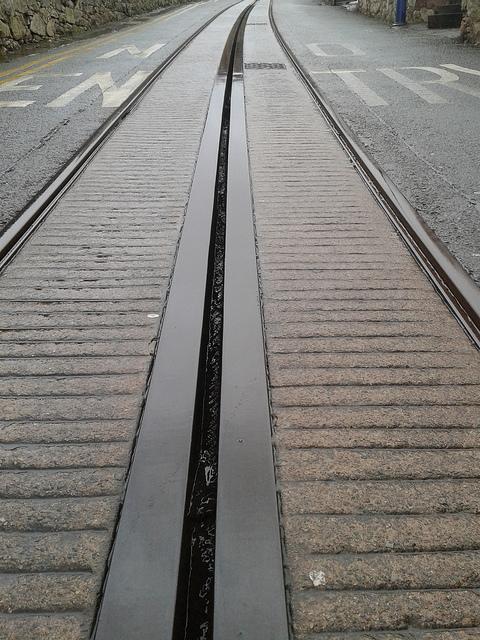 Tram track in Llandudno